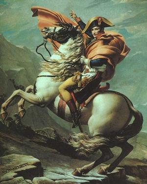 J.L. David. Napoleone valica il Gran San Bernardo. 1800-01. Olio su tela. Parigi, Malmaison